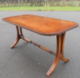 SOLD - Rectangular Mahogany Coffee Table by Reprodux